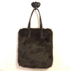 Urban Outfitters Faux Fur Tote Bag Brown New With